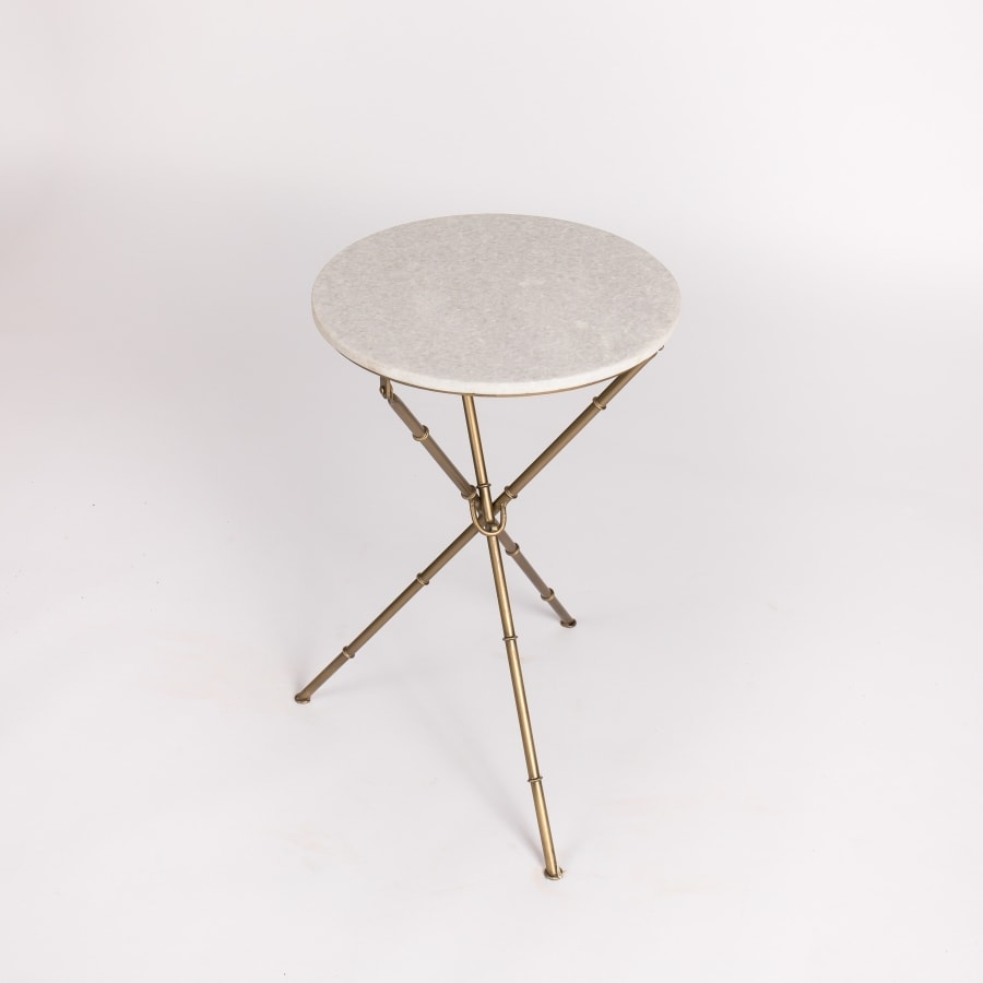 Marble Bamboo Accent Table